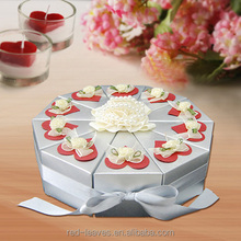 Happy birthday round cake box for wedding favor box with ribbon and tag