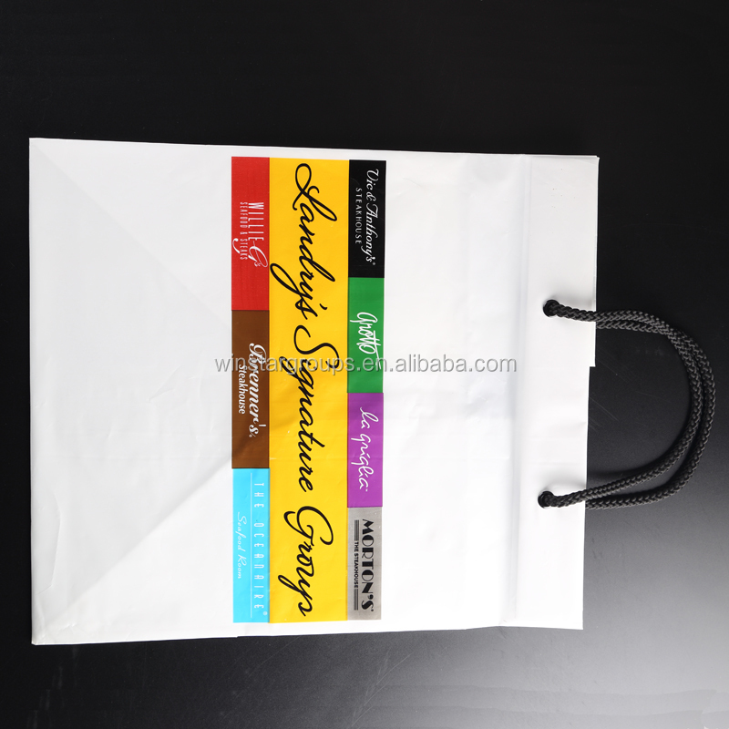 HDPE customized cord handle plastic shopping bag