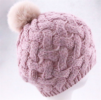 Knit hat in pink with fur pom pom, Knit beanie,Women pom pom hat
