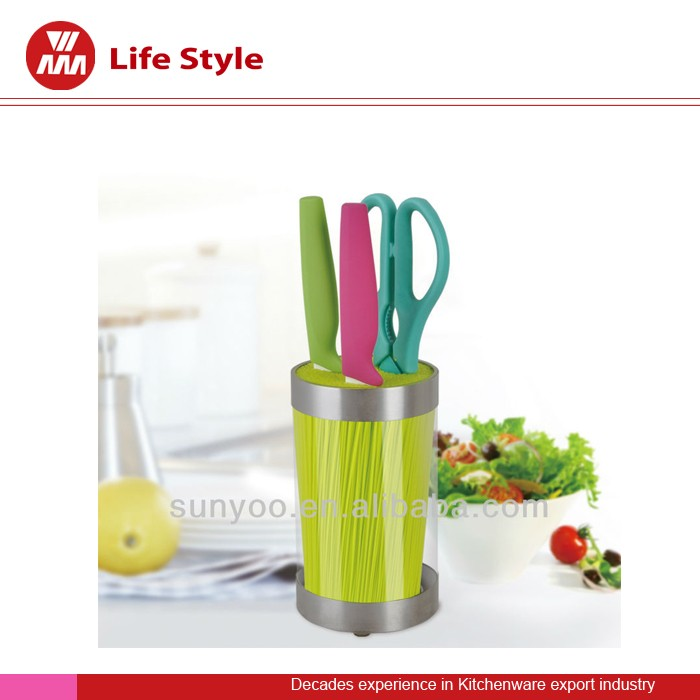3pc ceramic knife set with acrylic holder