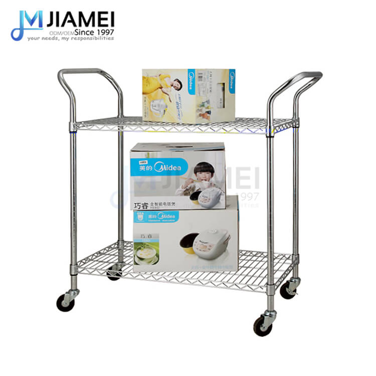 Adjustable 2 Tiers Chrome Metal Wire Utility Trolley