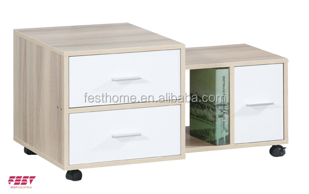 Panel type furniture MDF bedside table with wheels