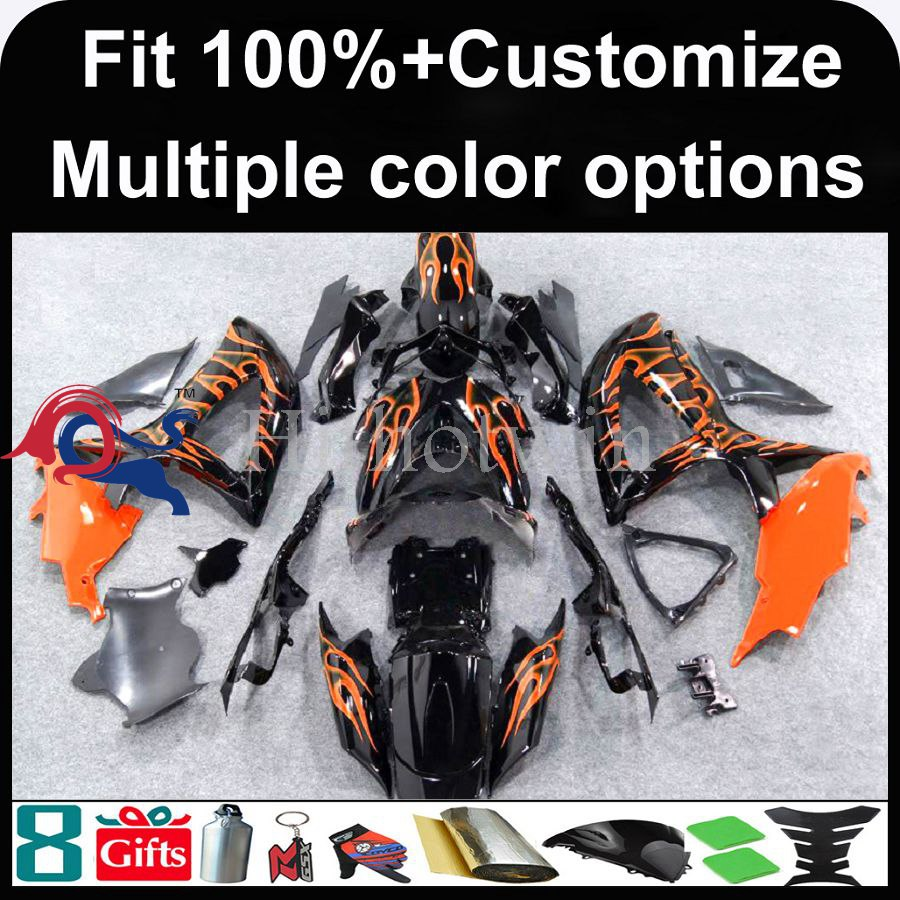 INJECTION MOLDING panels K8 ABS Fairing orange flames For Suzuki GSXR 600 2008 2009 2010 GSX R600 GSX R750 2008 2009 Fairing