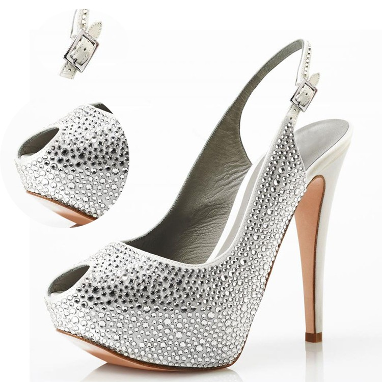 Best selling customized big size rhinestone shoes, high heel peep-toe