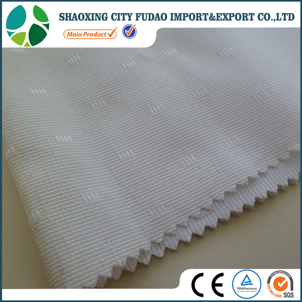Shaoxing textiles pure white dobby design polyester cotton fabric for man shirt