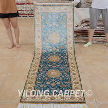 Yilong 2.5'x7.5' silk tabriz runner runner handknotted silk oriental persian carpets sale