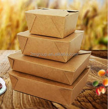 disposable wholesale take away rectangle kraft paper food bento box for fast food