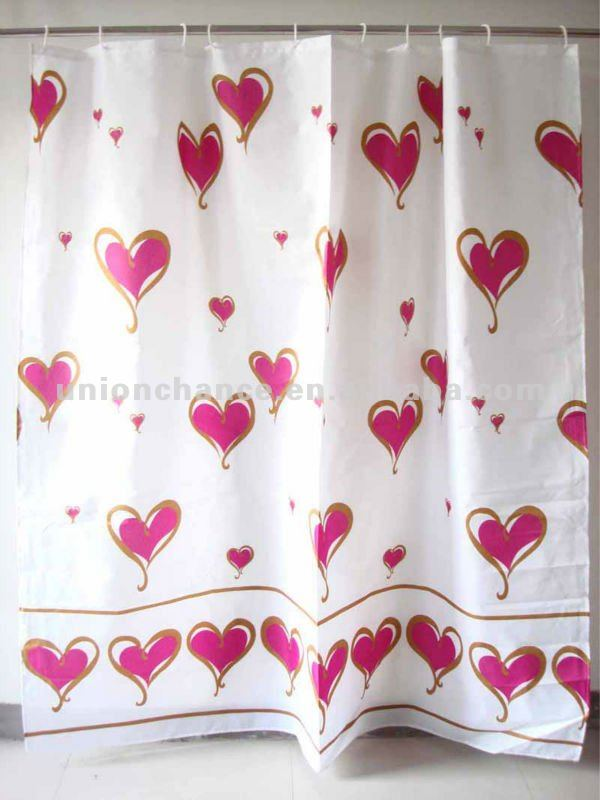 red heart bath shower windows curtain