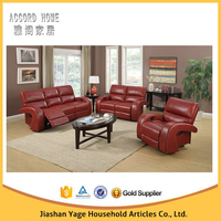 modern style living room soft comfortable red leather sofa rock recliner sofa