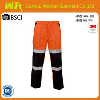 Fluorescent safety reflective tape work pants,two tone workwear pants