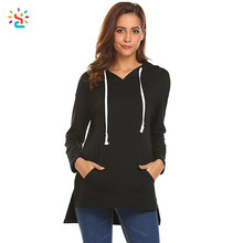 Hot selling ribbed side slit hoodie curved hem long line hoodie different kinds of women hoodies personalized