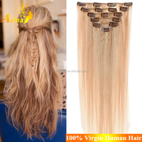 Factory Wholesale Full Cuticles Thick Bottom European Blonde Clip In Hair One Piece Clip In Human Hair Extensions