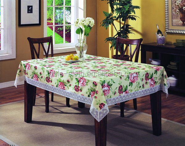 Plastic shinning tablecloth with Lace border tablecloths overlays