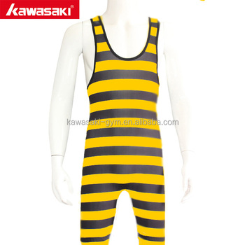 Best OEM Factory Service Low Cut Custom Wrestling Singlet With Stripe Design