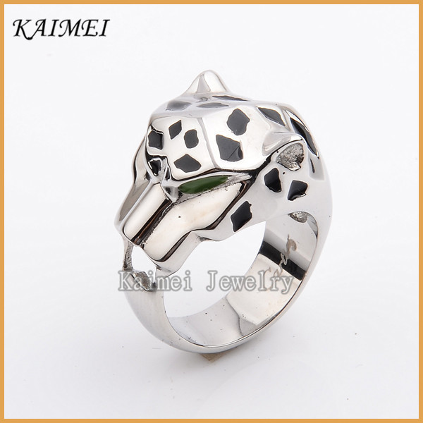 Cheap jewelry Mens Stainless Steel Punk Style Black Oil Crazy Ring Animal Ring
