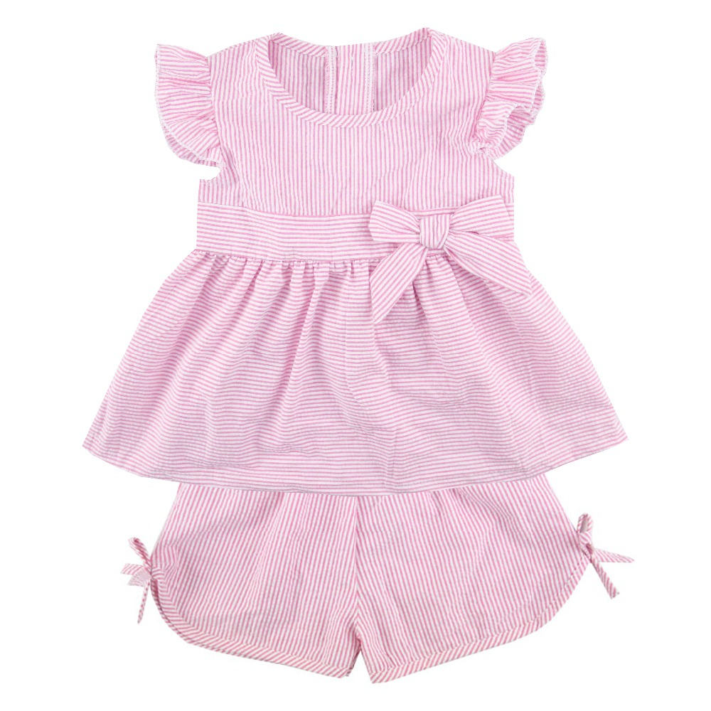 Kaiyo boutique children outfit hot pink seersucker flutter sleeves top bow girls seersucker shorts seersucker girls clothing