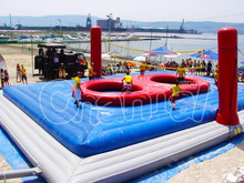Commercial grade PVC inflatable beach volleyball court for sale, inflatable volleyball/bossaball field