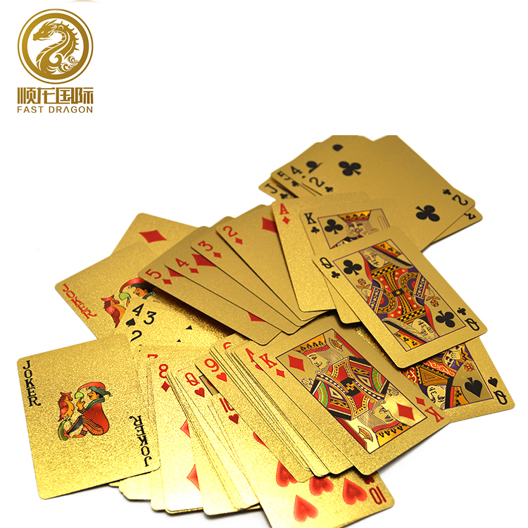 Transparent Waterproof PVC Poker Gold Edge Playing Dragon Card Chinese Style