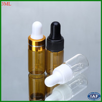 screw top amber glass bottles/swing top recycled glass bottles 3ml
