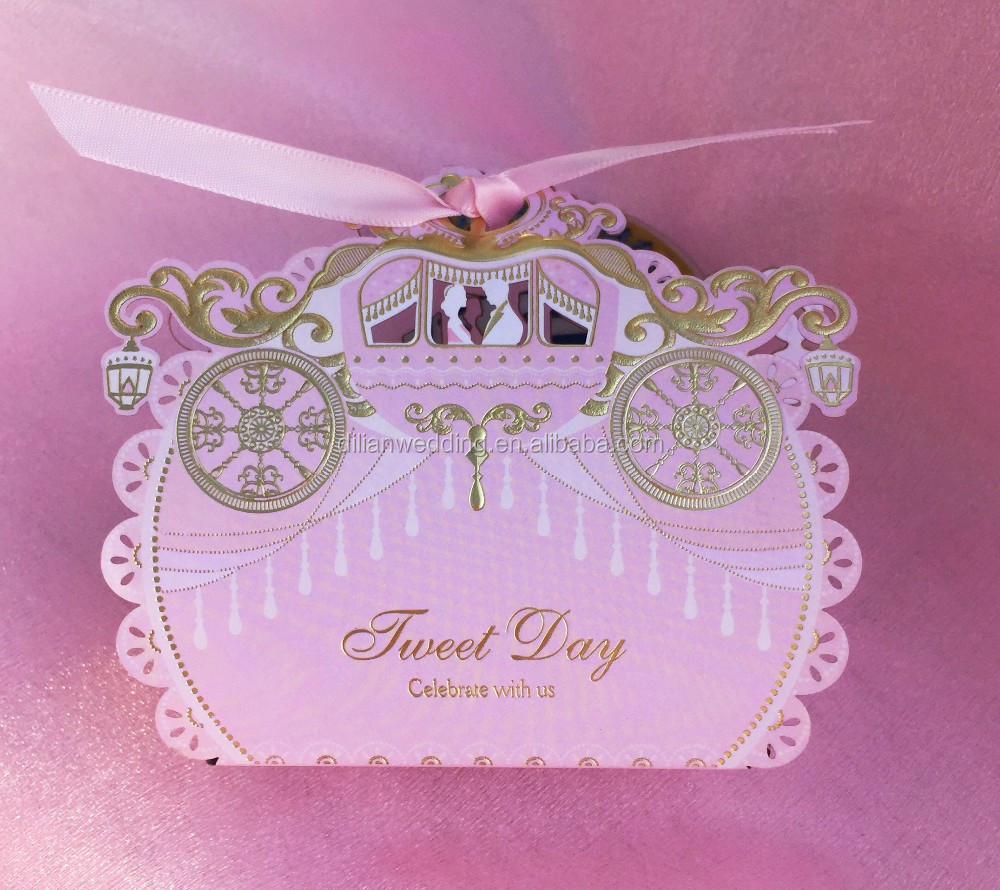 Laser cut pink color royal carriage candy box wedding