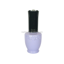 Wholesale unique 15ml soak off gel nail container with black cap, purple eyecatching bottles glass nail polish