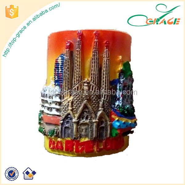 barcelona spain sagrada familia souvenir 3d resin fridge magnet