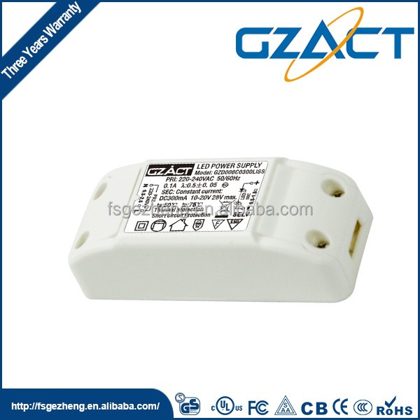 SAA CE TUV UL compliance high efficiency 6w 12v led driver 350ma for led strip light