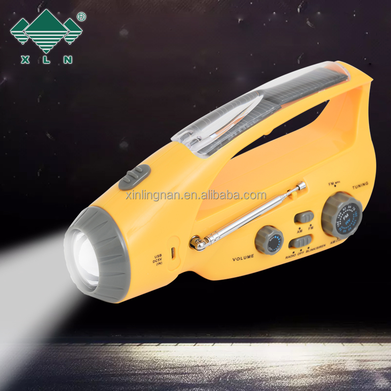 Multi-functional 3-way Powered Emergency Solar torch, Hand Crank LED Camping Lantern, Handle Radio and Cell Phone Charger