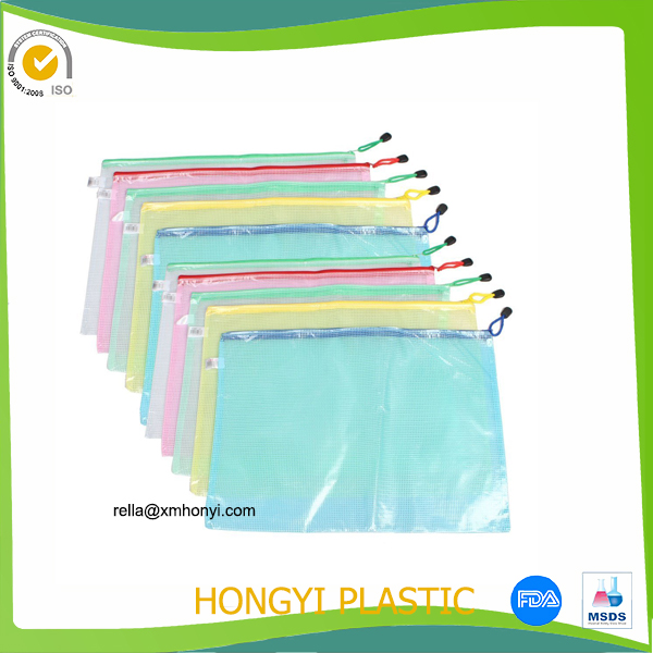 Waterproof PVC Multicolor Netting Surface A3 Document File Holder Zipper Bag for Office & School