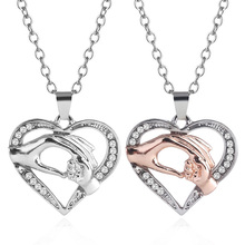 Fashion Beautiful Girl Beauty High Quality Heart Shape Rose Lover Love Pendant <strong>Necklace</strong>