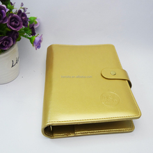 customized gold faux leather a5 3 ring binder