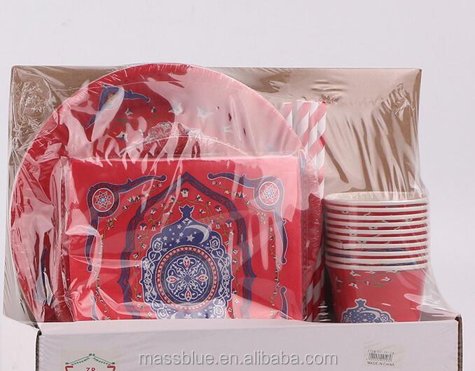 Four piece suit paper plate paper cup napkin and straw for red color