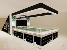 high end modern glass tower jewellery store showcase desgin image display stand kiosk mall