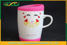 Carton design pink ceramic mug enamel with silicone lid custom logo printed
