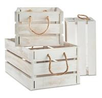 Rustic White-Washed Wooden Storage Crates with Jute Rope Handles