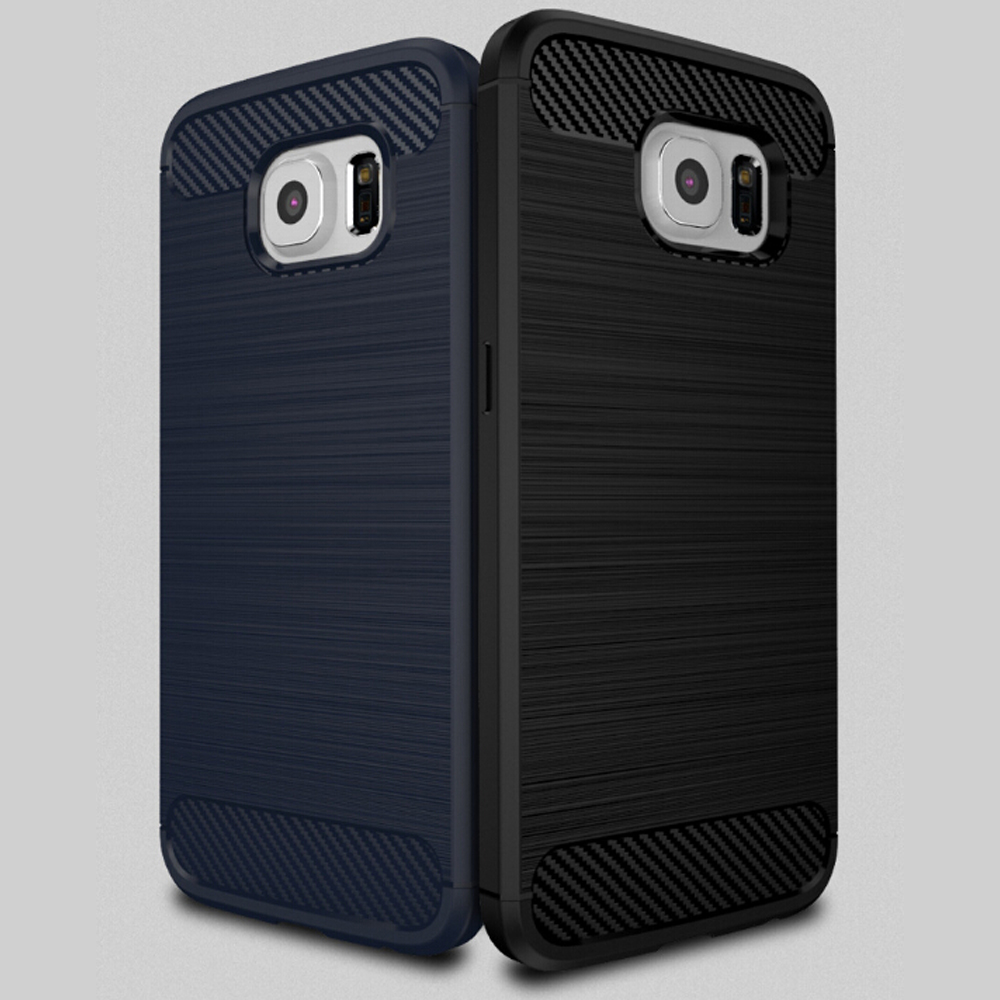 Carbon Fiber Brush Phone Case TPU Bumper Cover Case For Samsung Galaxy S6