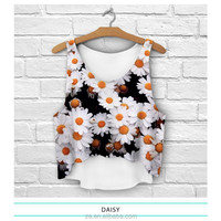 Wholesale 3D digital printed printed daisy flower crop top for ladies summer wear