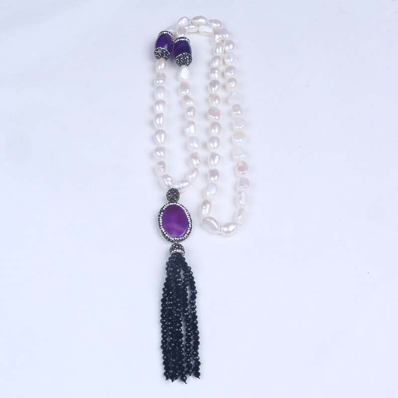 Fashion new design handmade knotted pearl necklace