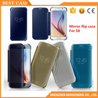 Clear View Electroplate Mirror Leather Flip Cover Phone case for samsung galaxy s8 plus case