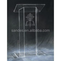 Clear Plastic Church Podium Acrylic Church Lectern Lucite School Pulpit