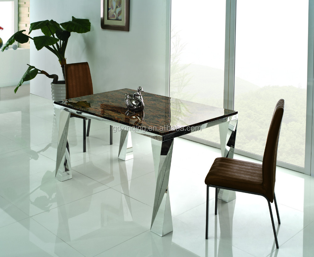 TH308 stainless steel modern marble dining table and chair
