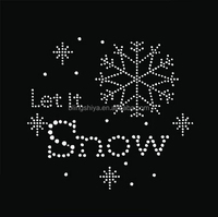 Let It Snow Rhinestone Transfers Snowflake Motifs Iron On Letters