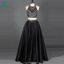 Sexy Halter Beaded Top Slinky Satin Skirt Two Piece Evening Party Prom Dress 2018 Party Dress For Women