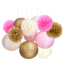 Tissue Paper Pom Pom Flowers and Paper Lanterns Party Decoration