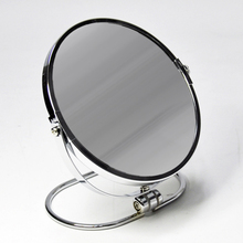 Oval Ring Base Chrome Metal Two-Sides Standing Mirror
