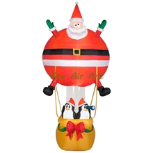 Inflatable Santa Claus with penguin in Air Balloon to send gift with air blower, Inflatable Advertising Balloon for Chris