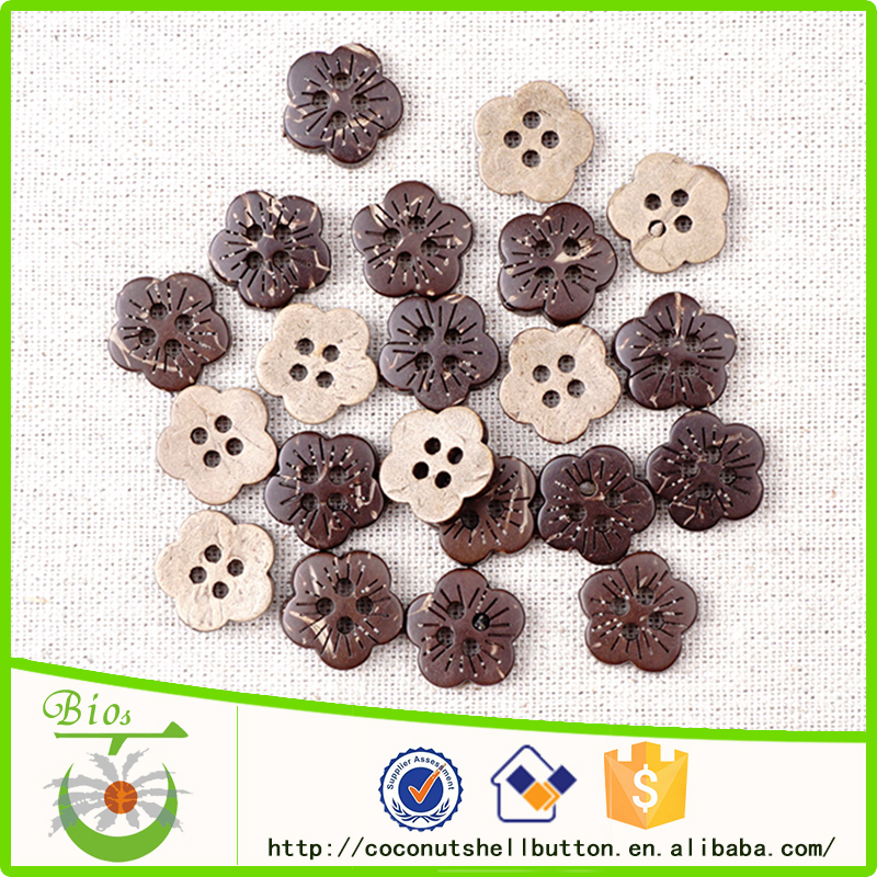 All types of natural coconut laser novelty craft flower buttons