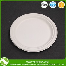 9 Inch Disposable Compostable Bagasse Raw Material Paper Plate