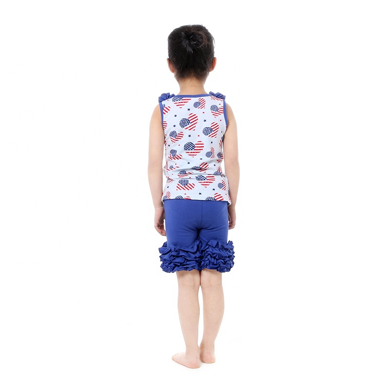 wholesales girls toddlers baby clothing July the 4th outfit ruffle tank shorts 2pc set