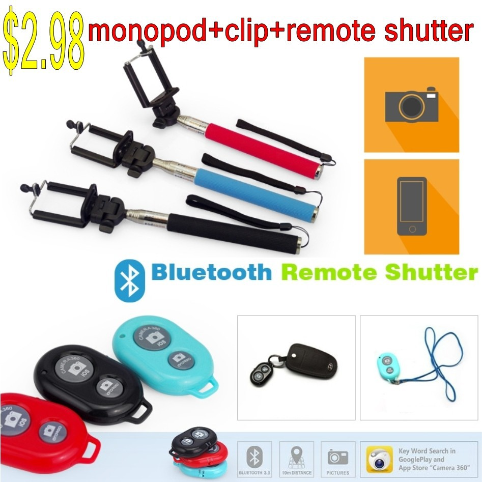 Z07-1 selfie monopod,mobile phone clip, bluetooth shutter remote
